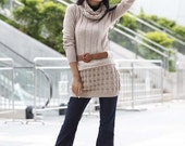 Free Shipping Kahki Long Sleeve Woolen Sweater Dress With Neck Warmers One Size for most - NC191