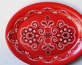"Vintage Red Bandana Tray, Large 20"" Kitchen Decor Serving by KENRO"