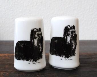 Vintage Yorkshire Terrier Dog Art Salt Pepper Shakers, Signed Cindy Farmer Rare Collectible Set, 1985