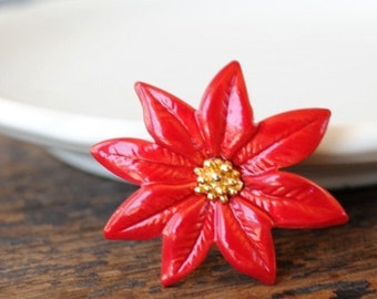 Vintage Christmas Poinsettia Label Pin, Hat Tie Tack