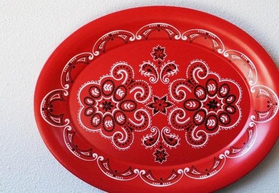 "Vintage Red Bandana Tray, Large 20"" Kitchen Decor Serving by KENRO"
