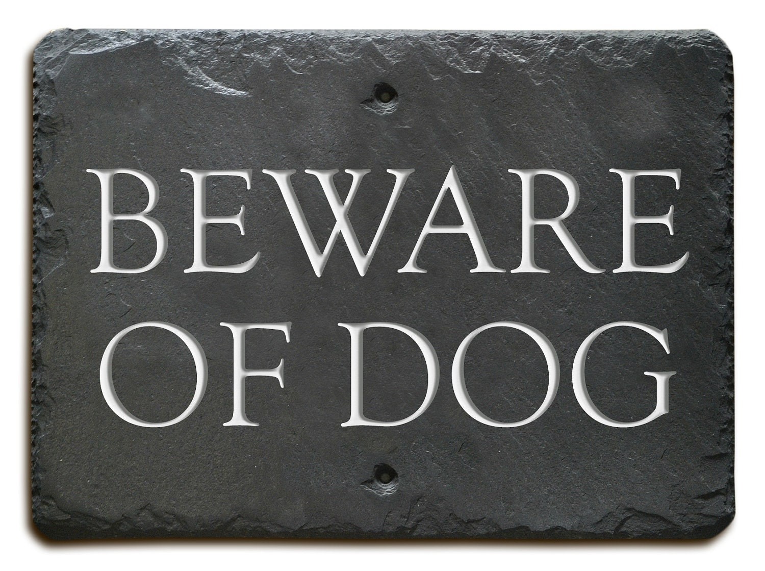 Carved Slate Beware Of Dog Sign Plaque Fence Stone Gate