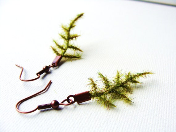 Fern Sprig Earrings. Fern Leaves on Brown Earring Backs