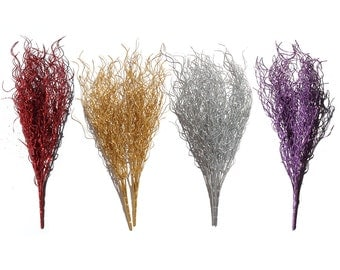 Glitter Sparkle Bushes Grasses Stems for Floral Decorations on Christmas and Holiday Seasons