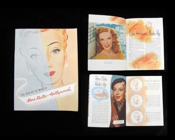 Vintage 1940s Max Factor - Hollywood The New Art of Make Up Pamplet Judy Garland, Lana Turner Movie Stars