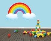 PRESCHOOL CLASSROOM Outdoor Sky Rainbow Scene Boy Girl Kids Children Peel & Stick Sticker Mural Vinyl Wall Decal Color 629 20X30