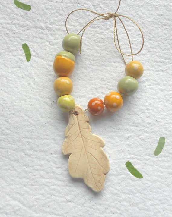 Ceramic Bead Set with Oak Leaf Pendant in Sage and Mustard