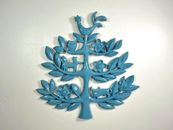 Vintage Teal Wall Decor : Vintage tree of life wall art plaque teal