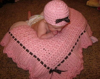 Pink Baby Blanket with brown/pink ribbon