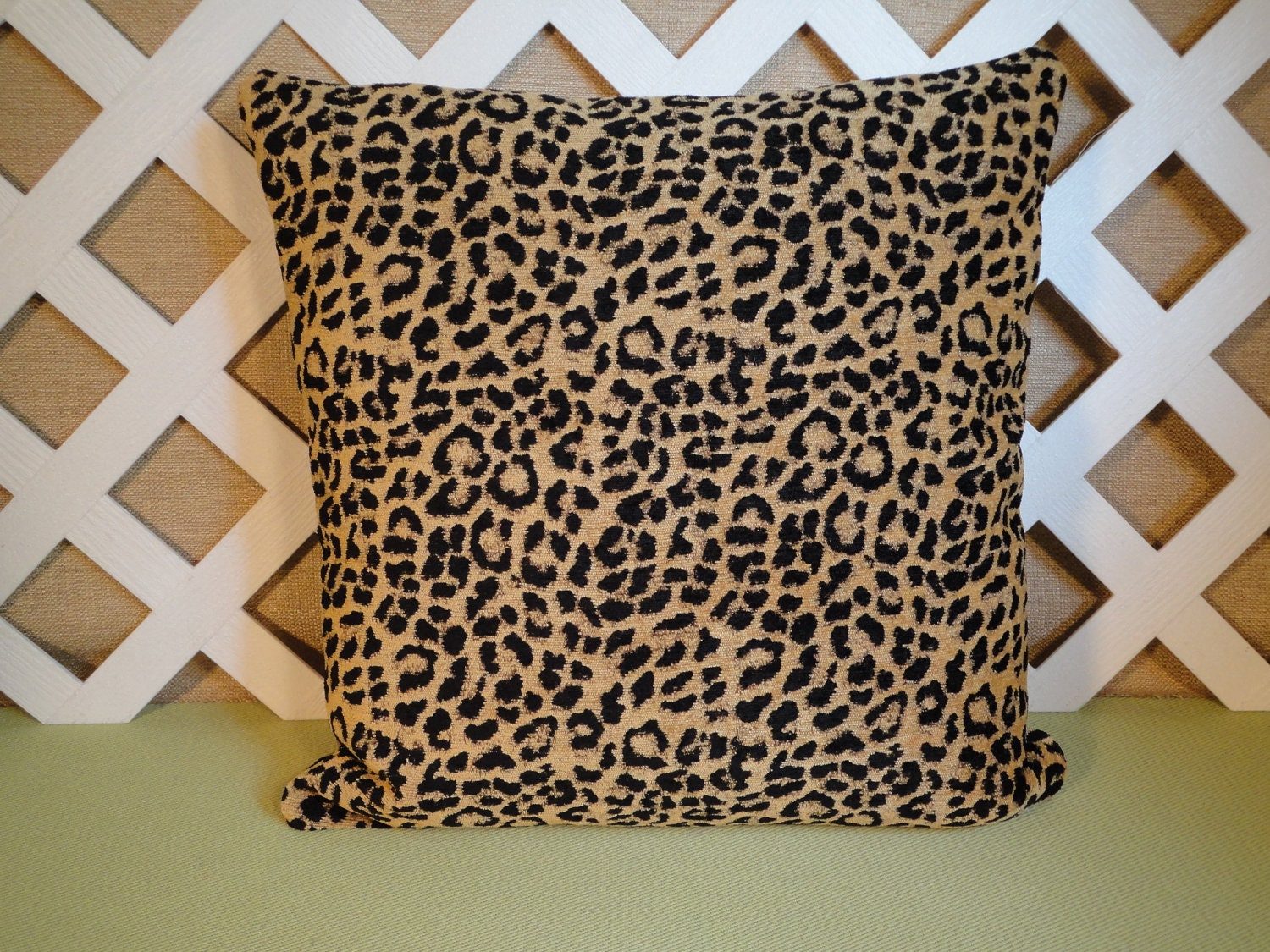 Leopard Print Pillow Cover/ Leopard Pillow/ Black and Tan