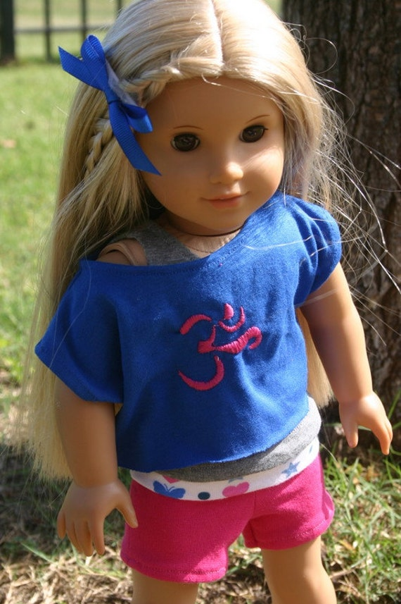OM Yoga outfit 3 piece set to fit your 18 inch american girl or similar doll,Yoga pants, tank top, slouch shirt