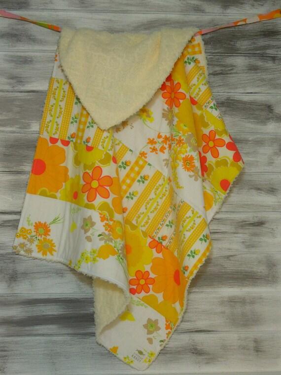 Sweet Vintage Baby Blanket - Modern Quilt - Ultra Plush Minky Fleece Backing - (Ready to Ship) - Citrus Sunshine