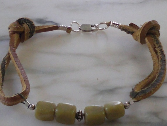 Mens Leather and Jade Gemstone Bracelet, Eco Friendly Recycled Sterling Silver,  Tribal Rustic Sudance Style bracelet