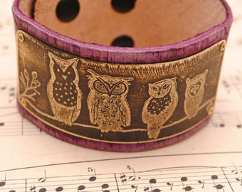 Etched Brass Bracelet Distressed Leather Cuff Purple Owl