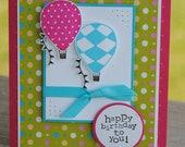 Handcrafted Hot Air Balloon Birthday Card
