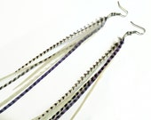 Extra Long Feather Earrings - Purple and White