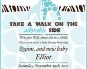 Blue Safari Baby Shower Invitation