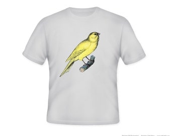 Vintage Bright Canary Illustration Adult Tshirt  -- other tshirt color and personalization available - adult sizes S-3XL