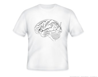 Anitomical Brain Medical Journal Illustration on Adult Tshirt  -- other tshirt color and personalization available - adult sizes S-3XL