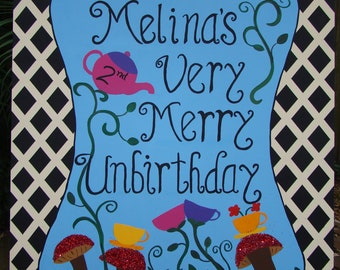 A Very Merry Un-Birthday Sign - Alice in Wonderland Party Decoration - Customizable Sign