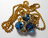 Zelda Necklace Zora's Sapphire, Gold Colored Ball Chain