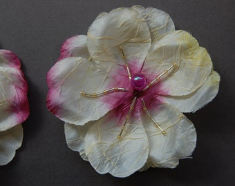 Yellow/Cream/Pink Ombre Beaded Flower with Pin Back