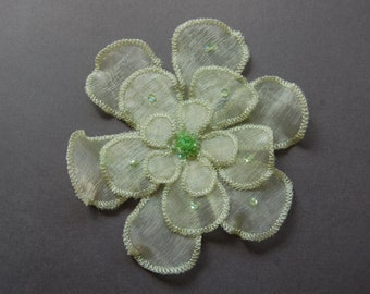 2pc Large - Sequin Green Organza Flower