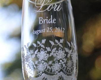 Set of 2 Lace Wedding Gift Flutes for the Couple