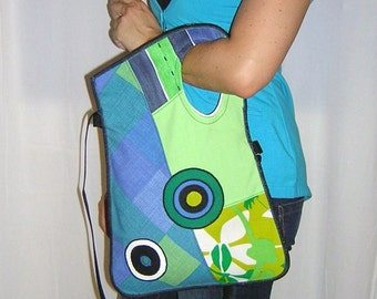MEDIUM Sling Bag Crossbody bag Boho hipster purse Haversack mixed fabrics in  Green Lime Blue White  with Circles