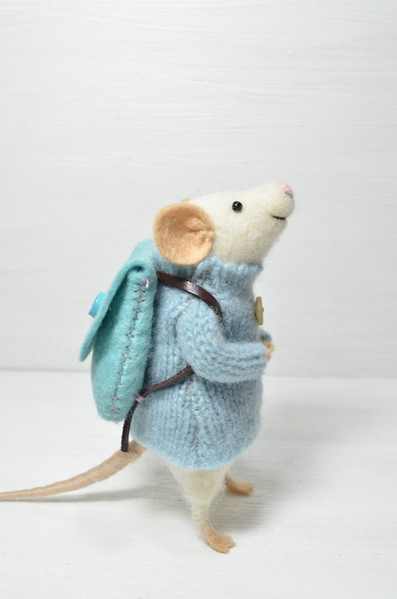 RESERVED FOR NANCY  Little Traveler Mouse - unique - needle felted ornament animal, felting dreams made to order