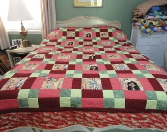 SALE  Hand Quilted Oriental style Quilt.
