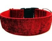 """Large Dog Collar 1.5"""" Red Glitter Dog Collar SIZE LARGE"""