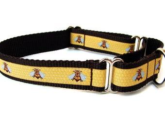 "Summer Dog Collar Bumble Bee Dog Collar 1"" Martingale Collar"