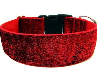 """Large Dog Collar 1.5"""" Red Glitter Dog Collar SIZE MEDIUM Ready To Ship"""