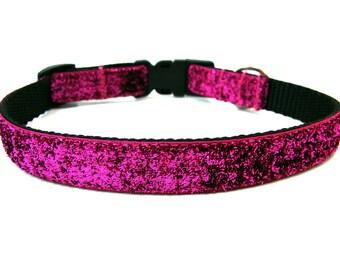 """Pink Glitter Dog Collar 5/8"""" Small Dog Collar"""