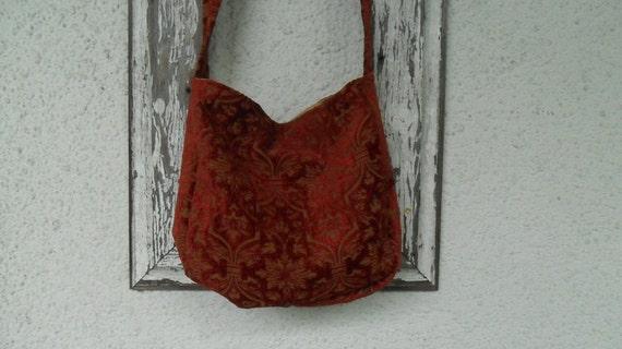 Gothic Bohemian Bag Purse Deep Red Chenille