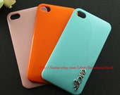 3 color For Choice--Mint green, Pink, Orange silver Love iphone Case for Apple iPhone 4 Case, iPhone 4s Case, iPhone 4 Hard Case