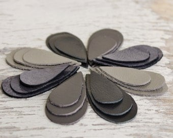 24pcs  Shades of Grey Leather Teardrops Die Cuts