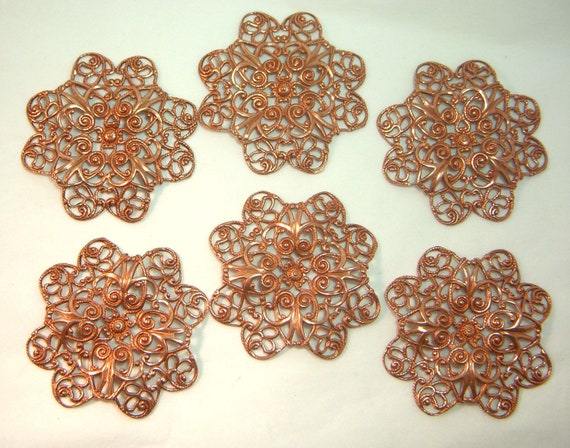 Old Rose Ox Tabbed Filigree, SIx Pieces, 36x38mm, USA Made, B'sue Boutiques, Item0265