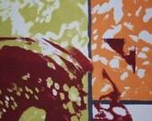 Silk screen print, earth tones, orange, green, maroon, small print, postcard, abstract art, series of prints