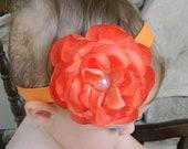 20%OFFORDER.Tangerine Flower headband.Orange flower headband.vintage rose headband.infant headband.toddler headband.girl headband.photo prop