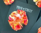 Halloween Hair Clip Barrette Chic Shabby Flower Cottage Chic Fabric Flower Red Orange Yellow