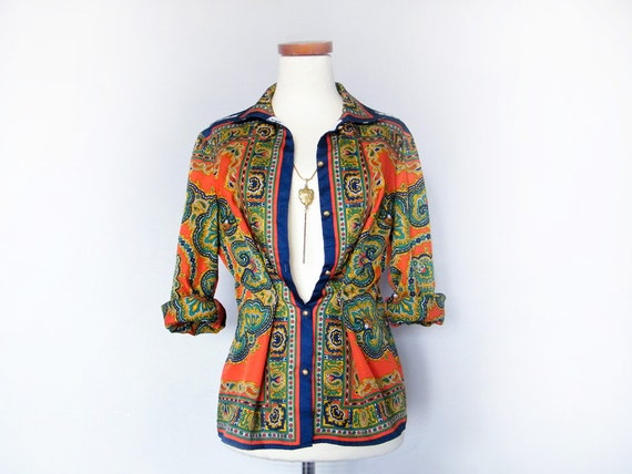 Vintage Bohemian Blouse - Geometric Multicolor Printed Light Jacket  Morocco Inspired Red Blue White Green Gold Boho Chic Button Up Blouse