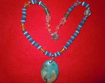Charming Gem necklace with Jasper pendant.