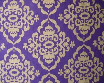 Purple Damask Cotton Fabric Fat Quarter Riley Blake Fionas Fancy Yellow/Gold FQ