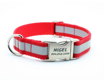 Reflective Dog Collar with Laser Engraved Personalized Buckle - RED