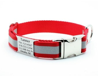 Reflective Dog Collar with Built-In Laser Engraved Personalized Nameplate - RED