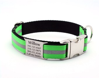 Reflective Dog Collar with Laser Engraved Built-In Personalized Nameplate - NEON GREEN