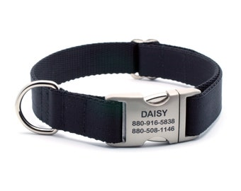 Black Ribbon & Webbing Dog Collar with Laser Engraved Personalized Buckle