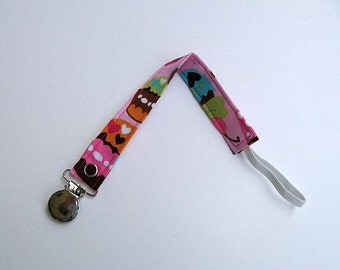 Baby Girl Universal Fabric Pacifier Clip / Pink Paci Clip / Girl Paci Clip